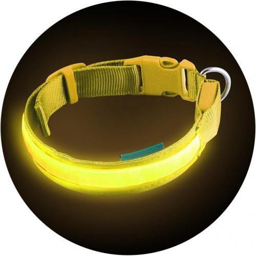 AG232B Flash LED svítící obojek 34-44 cm/25mm ŽLUTÝ