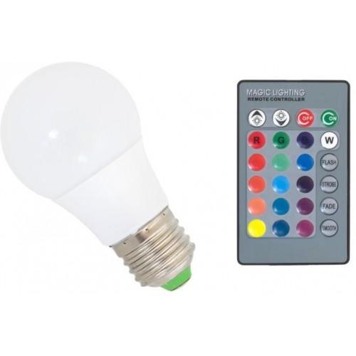 RGB LED žárovka 3W E27 150lm s ovladačem