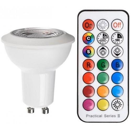 RGB NW LED žárovka 3W GU10 190lm s ovladačem NEUTRÁLNÍ