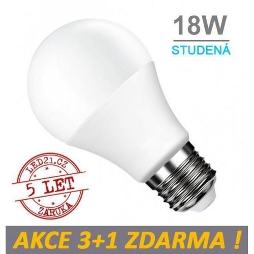 LED žárovka E27 18W SMD2835 1700 lm CCD STUDENÁ, 3+1 Zdarma