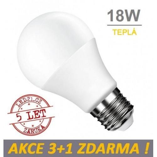 LED žárovka E27 18W SMD2835 1700 lm CCD TEPLÁ, 3+1 Zdarma
