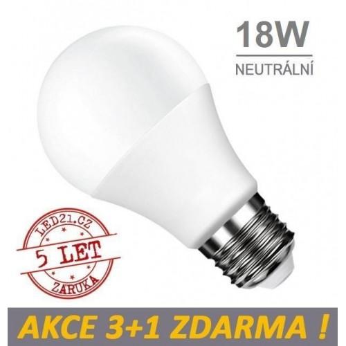 LED žárovka E27 18W SMD2835 1700 lm CCD NEUTRÁLNÍ, 3+1 Zdarma
