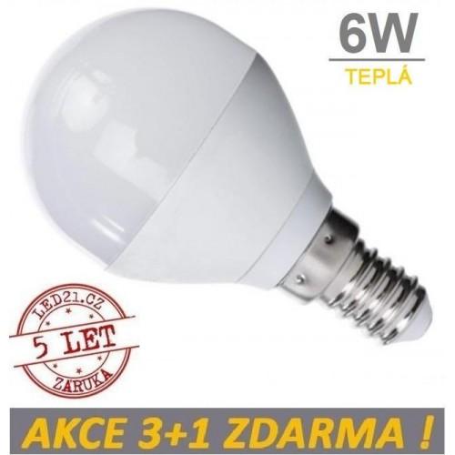LED žárovka 6W 480lm E14 TEPLÁ, 3+1 ZDARMA