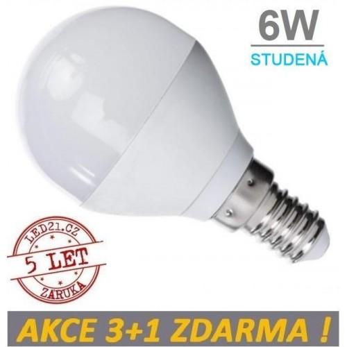 LED žárovka 6W 480lm E14 STUDENÁ, 3+1 ZDARMA