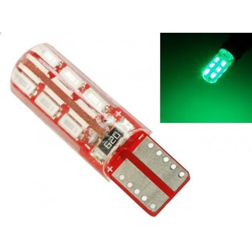 LED auto žárovka T10 W5W 24 SMD 3014 CAN BUS Silikon ZELENÁ