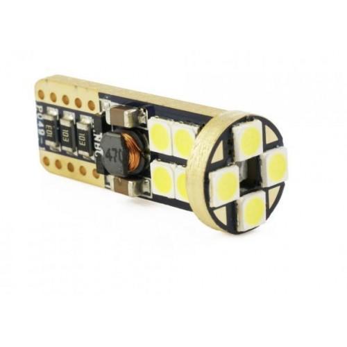 LED auto žárovka W5W T10 12 SMD CREE 3030 CAN BUS STUDENÁ BÍLÁ