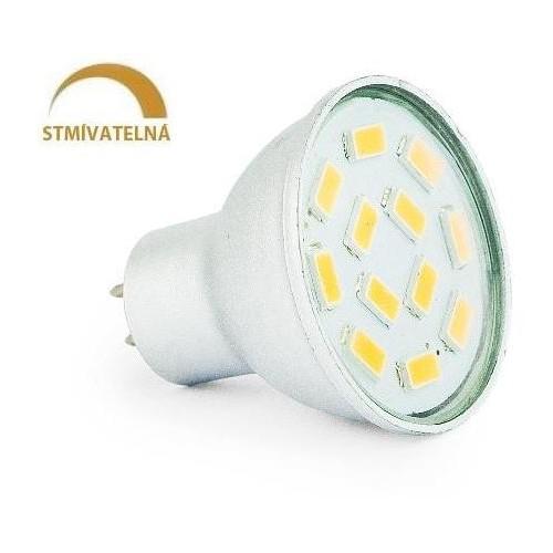 LED žárovka 3W 12xSMD5630 GU5,3/MR11 270lm CCD 12V  STMÍVATELNÁ TEPLÁ