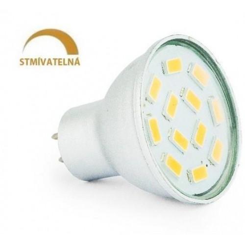 LED žárovka 3W 12xSMD5630 GU5,3/MR11 270lm CCD 12V  STMÍVATELNÁ NEUTRÁLNÍ