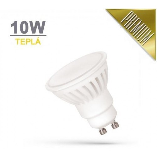 LED žárovka PREMIUM 10W 18xSMD2835 GU10 910lm TEPLÁ BÍLÁ