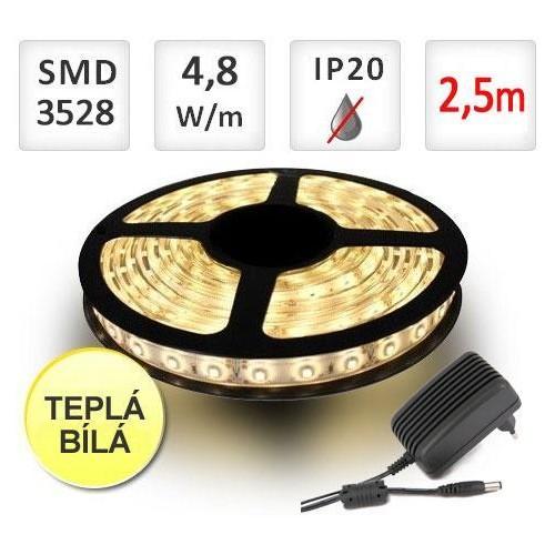 SADA LED pásek 2,5m 4,8W/m 60ks/m 2835 Teplá Bílá + Zdroj