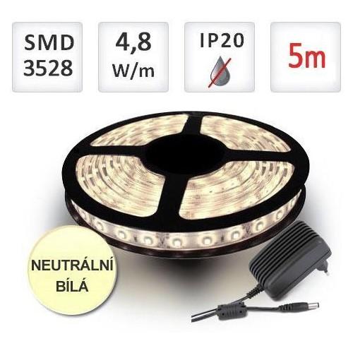 SADA LED pásek 5m 4,8W/m 60ks/m 2835 NEUTRÁLNÍ + Zdroj