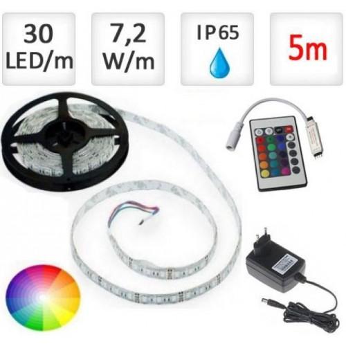 LED pásek 5m RGB 5050, 30 LED/m, 18W, IP65, sada