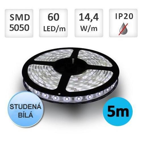 LED pásek 5m 14,4W/m 60ks/m 5050 STUDENÁ