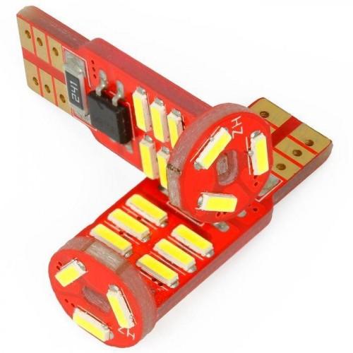 LED auto žárovka LED W5W T10 15 SMD 4014 CAN BUS