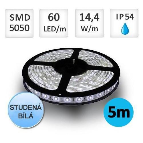 LED pásek 5m 14,4W/m 60ks/m 5050 STUDENÁ voděodolný