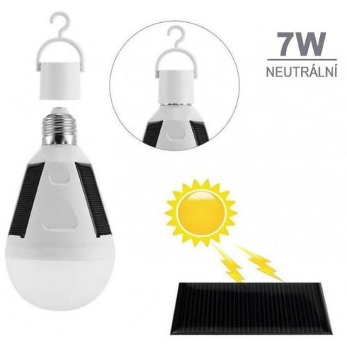Solární LED žárovka s vypínačem E27 7W 16xSMD5730 560lm CCD NEUTRÁLNÍ
