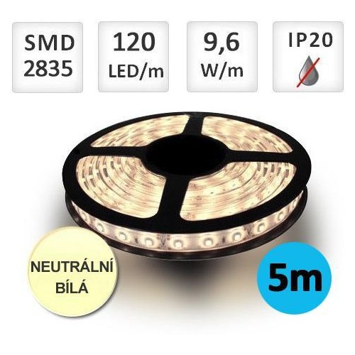 LED pásek 5m 9,6W/m 120ks/m 2835 NEUTRÁLNÍ