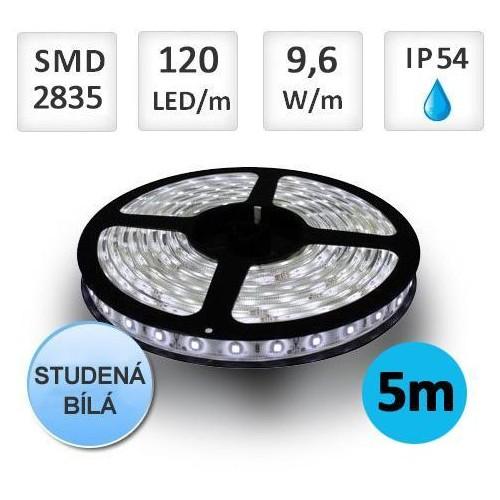LED pásek 5m 9,6W/m 120ks/m 2835 STUDENÁ voděodolný