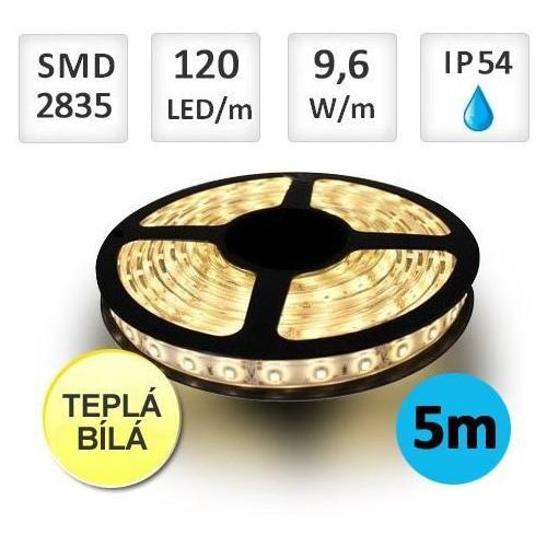 LED pásek 5m 9,6W/m 120ks/m 2835 TEPLÁ voděodolný