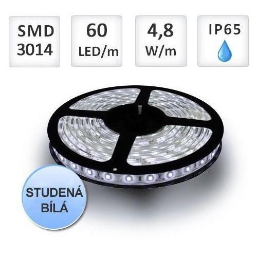 LED pásek 5m 60ks/m 3014 4.8W/m voděodolný-silikon, studená bílá