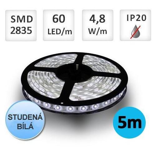 LED pásek 5m 4,8W/m 60ks/m 2835 STUDENÁ