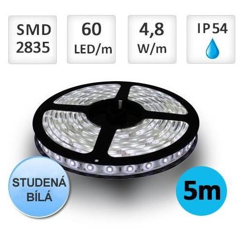 LED pásek 5m 4,8W/m 60ks/m 2835 STUDENÁ voděodolný