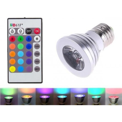 RGB LED žárovka 3W E27 110lm s ovladačem