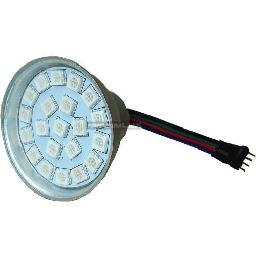 RGB LED žárovka 3W 21xSMD5050 12V 4-pin konektor 100lm