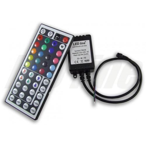 RGB kontroler s ovladačem pro LED pásky 72W 44 tlačítek 6A  (3*2A)