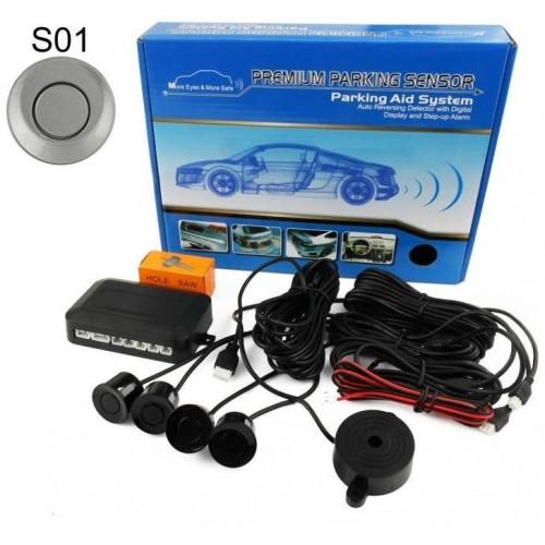 Parkovací systém 4 senzorový - akustická signalizace,  Ø22mm STŘÍBRNÝ