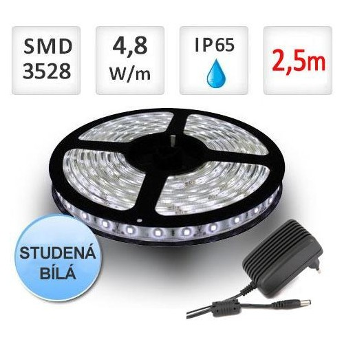 SADA LED pásek 2,5m 4,8W/m 60ks/m 2835 voděodolný STUDENÁ+ Zdroj
