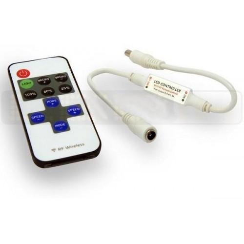 Mini stmívač pro LED pásky a žárovky, dálkové RF ovládání , 6A