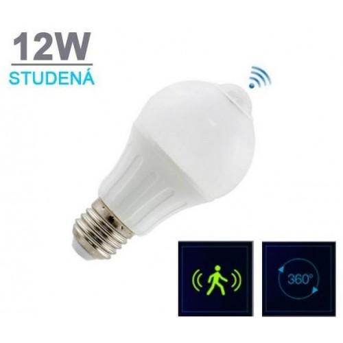 LED žárovka A5S s PIR čidlem 12W 18xSMD5630 950lm E27 STUDENÁ