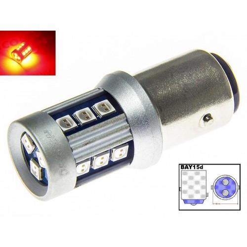 LED auto žárovka 12V 24V BAY15D 15 SMD 3030 P21/5W Dvouvláknová Červená