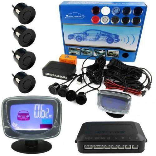 Parkovací systém 4 senzorový - zvuková signalizace i LED panel,  Ø22mm, stříbrný