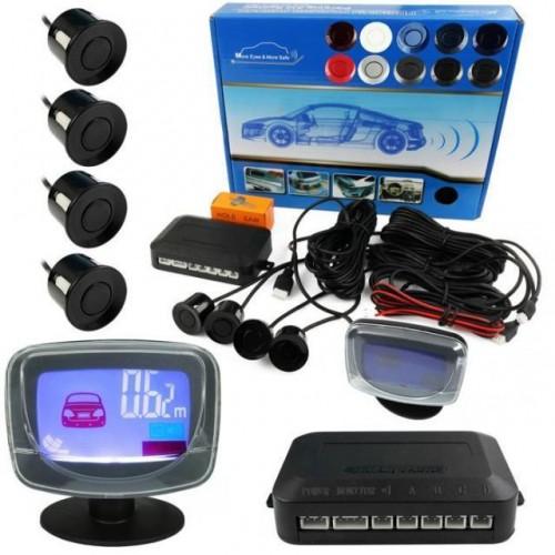 Parkovací systém 4 senzorový - zvuková signalizace i LED panel,  Ø22mm, modrý