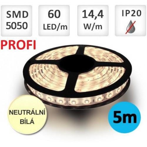 LED pásek PROFI 5m 14,4W/m 60ks/m 5050 NEUTRÁLNÍ BÍLÁ