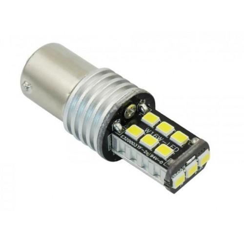 LED auto žárovka 12V BA15S 15xSMD2835 P21W 5W STUDENÁ BÍLÁ