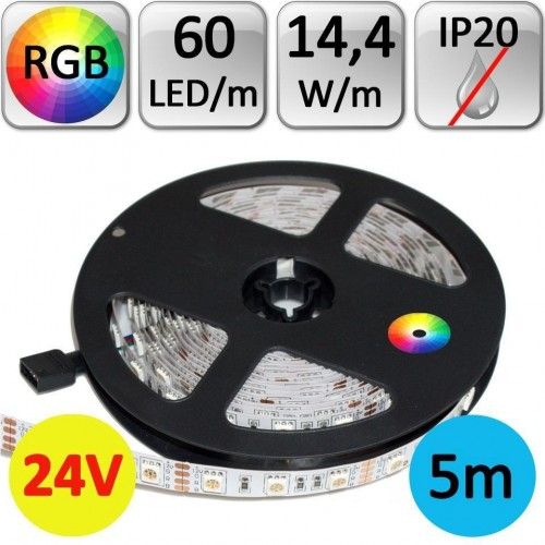 LED pásek 24V RGB 5050 5m 14,4W/m 60LED/m IP20