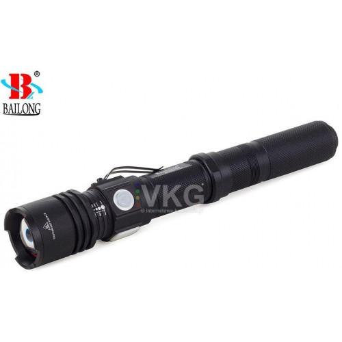 BAILONG LED CREE USB TORCH XM-L3-U3 W557 ZOOM Svítilna s nabíječkou, černá