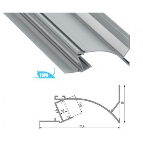 Hliníkový profil TOPO 2m pro LED pásky, eloxovaný stříbrný