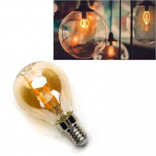 LED žárovka E14 G45 4W 4xCOB Filament 420lm AMBER, ULTRA TEPLÁ BÍLÁ