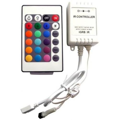 RGB kontroler s IR ovladačem pro LED pásky 72W 24 tlačítek Premium Line