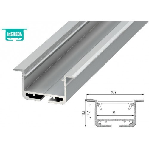 Hliníkový profil LUMINES inSileda zápustný 1m pro LED pásky, stříbrný