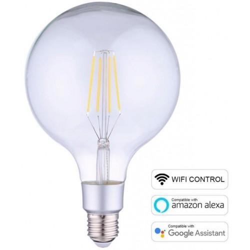 LED žárovka E27 Smart WiFi G125 6W 2700K stmívatelná, Teplá Bílá
