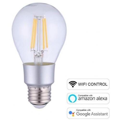 LED žárovka E27 Smart WiFi A60 6W 2700K stmívatelná, Teplá Bílá