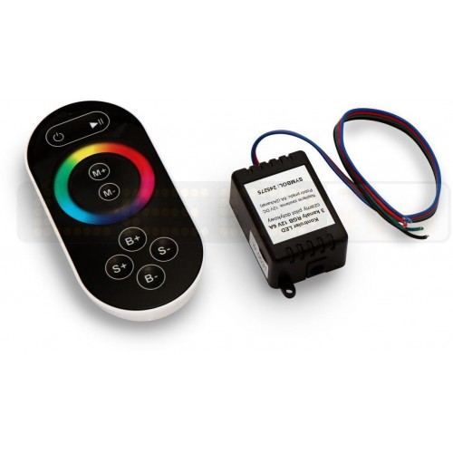 RGB kontroler pro LED pásky 12V 6A, 3 kanály, dotykové dálkové RF ovládání