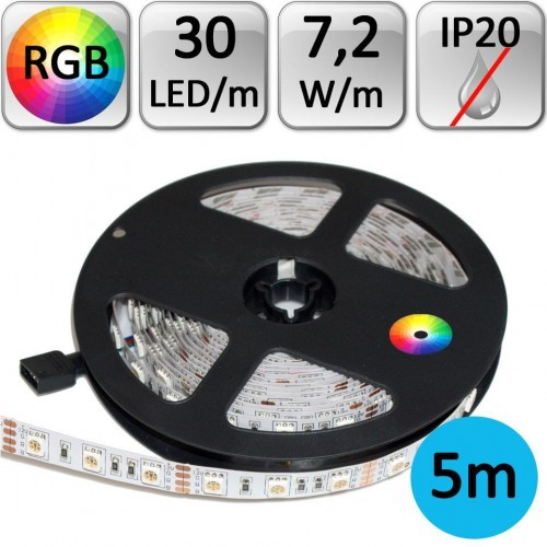 LED pásek RGB 5050 5m 7,2W/m 30LED/m IP20