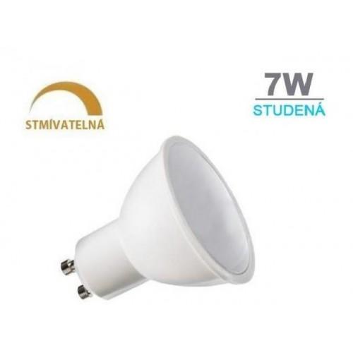 LED žárovka 7W 8xSMD2835 GU10 500lm studená bílá STMÍVATELNÁ
