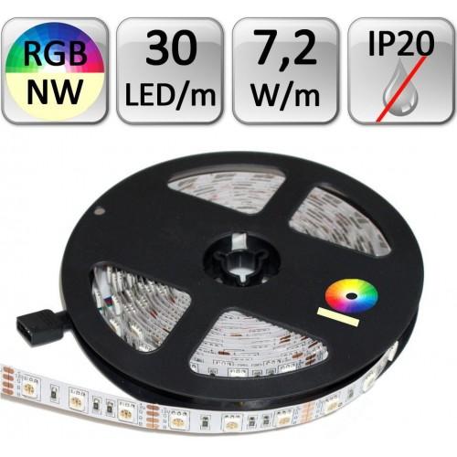 LED pásek RGB+NW neutrální bílá 1m 7,2W/m 30LED/m IP20